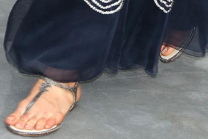 Chanel flat t-strap sandals on Karlie Kloss
