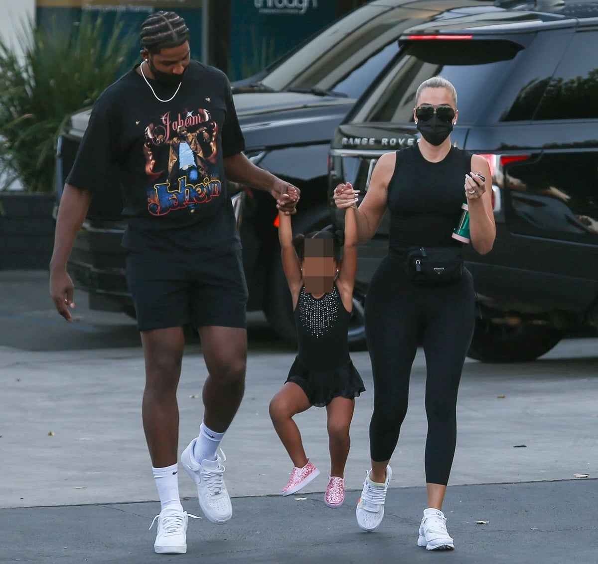 Khloe Kardashian and on-off boyfriend Tristan Thompson hold hands with their daughter True