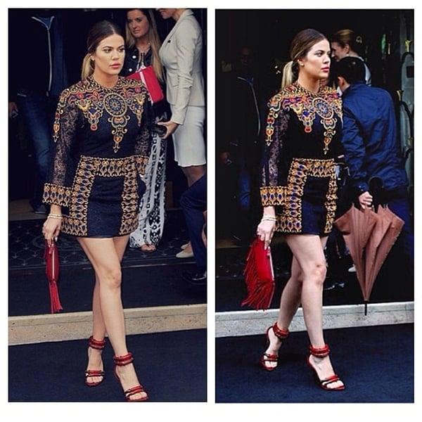 Khloé Kardashian flaunts her legs in Kris Jenner's Valentino minidress