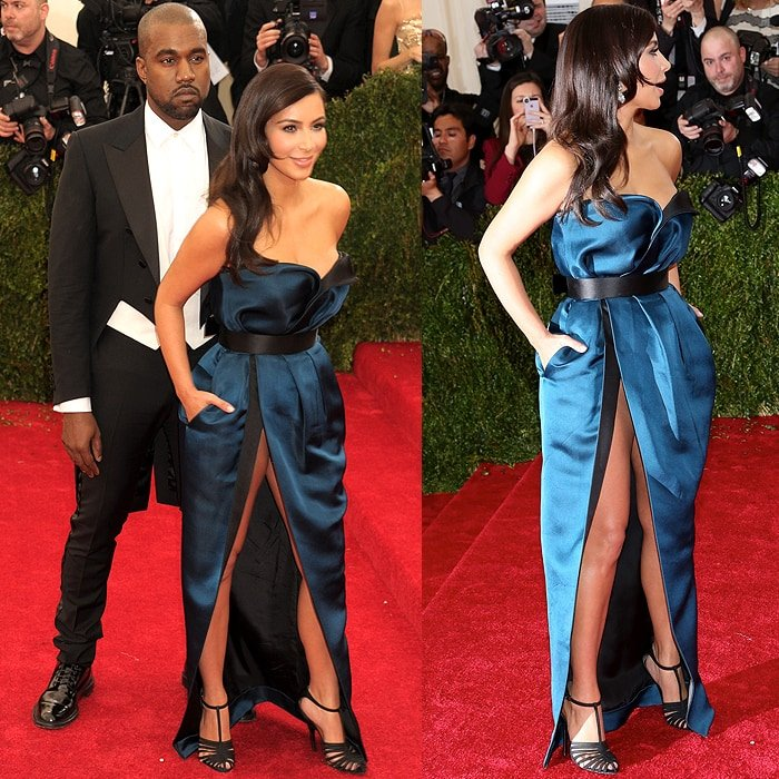 Kanye West and Kim Kardashian at the 2014 Met Gala held at the Metropolitan Museum of Art in New York City on May 5, 2014