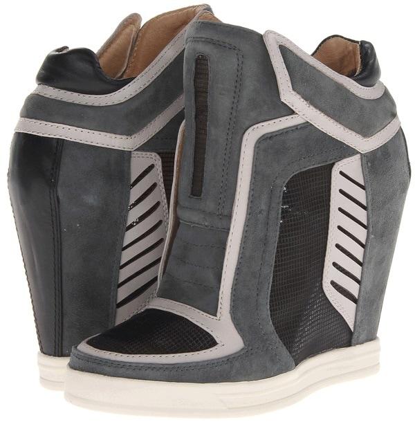 L.A.M.B. Freeda Wedge Sneakers Light Grey
