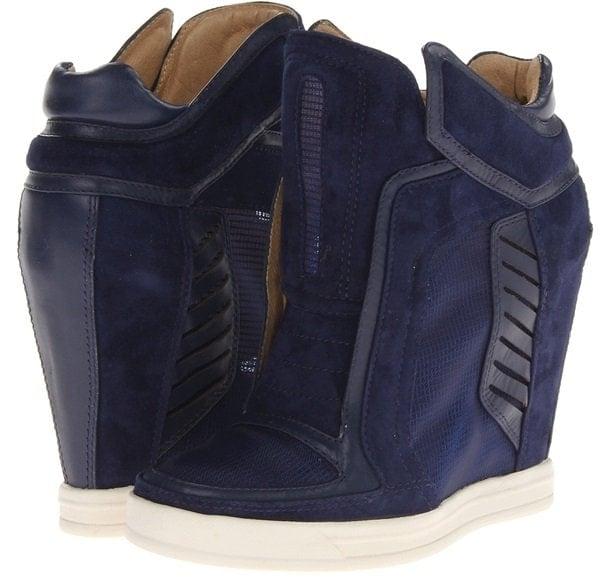 L.A.M.B. Freeda Wedge Sneakers Navy