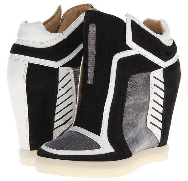 LAMB Freeda Wedge Sneakers Black White