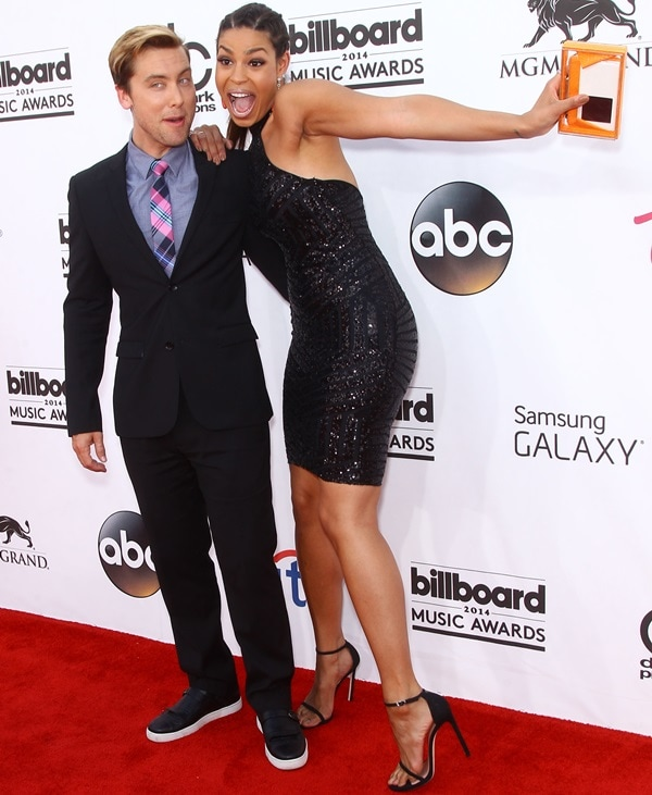 Lance Bass and Jordin Sparks on the red carpet at the 2014 Billboard Awards held at the MGM Grand Hotel & Casino in Las Vegas on May 18, 2014