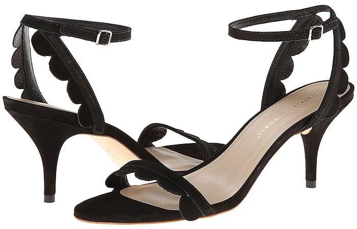 Loeffler Randall Lillit Scalloped Suede Kitten-Heel Sandals