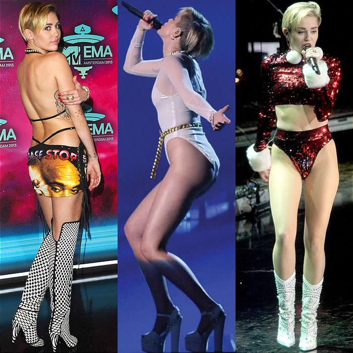 Miley Cyrus at the 20th MTV Europe Music Awards held at Ziggo Dome in Amsterdam, Netherlands, on November 10, 2013; performing on stage during MTV EMA 2013 at the Ziggo Dome in Amsterdam, Netherlands, on November 10, 2013; performing at Z100's Jingle Ball 2013 at Madison Square Garden in New York City on December 13, 2013