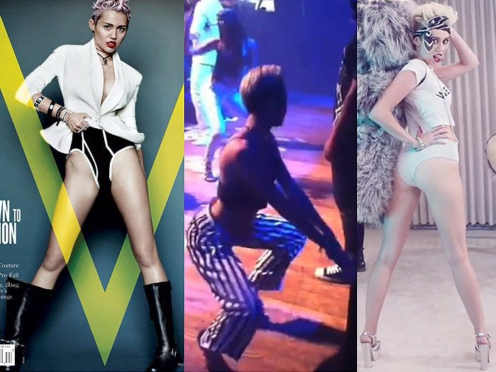 Miley Cyrus on the cover of V Magazine's May 2013 issue; twerking on stage at Juicy J's show at the House of Blues in Los Angeles, California, on June 8, 2013; in the director's cut version of her