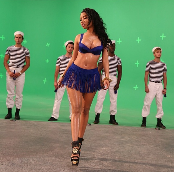 Nicki Minaj's behind-the-scene photos for Myx Fusions Moscato beverage commercial posted on Instagram