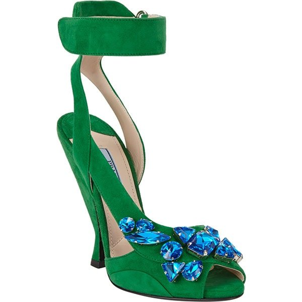Prada Jeweled Ankle Strap Sandals in Green