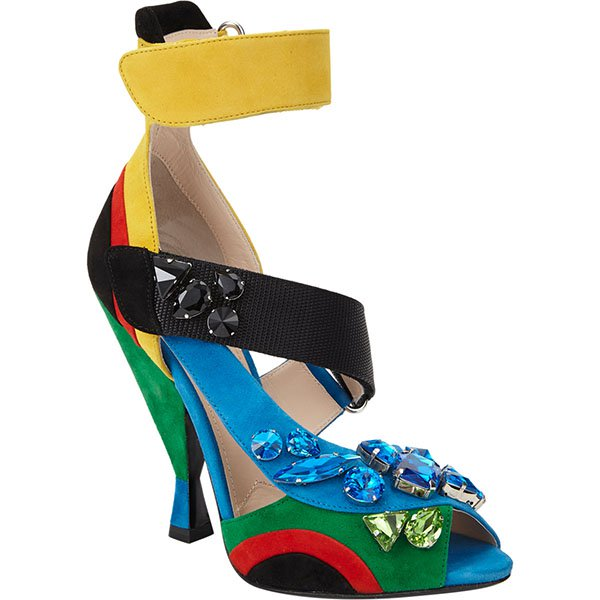 Prada Jeweled Ankle Strap Sandals in Multiple Colors