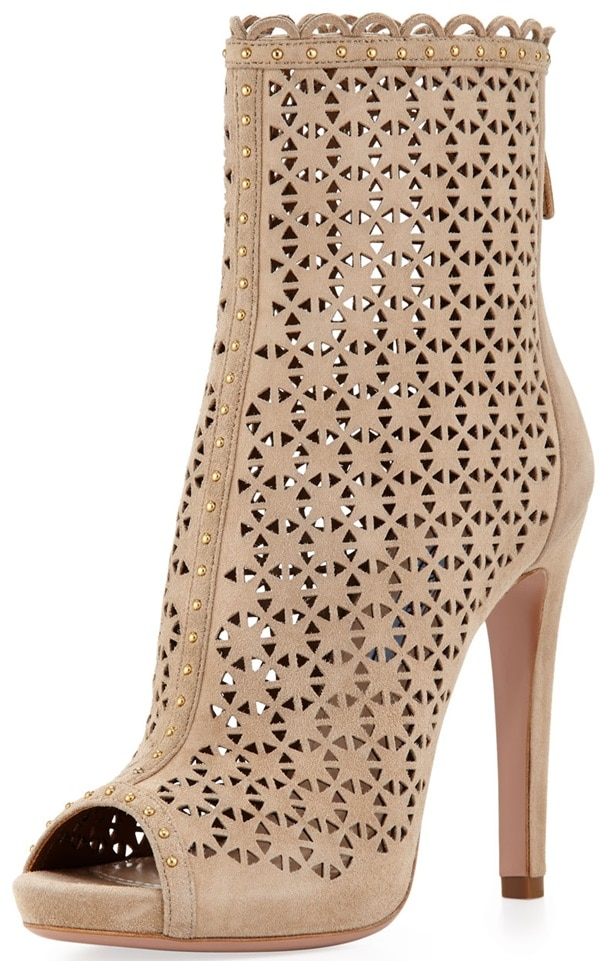 Prada Perforated Suede Ankle Boothed Leather Pump