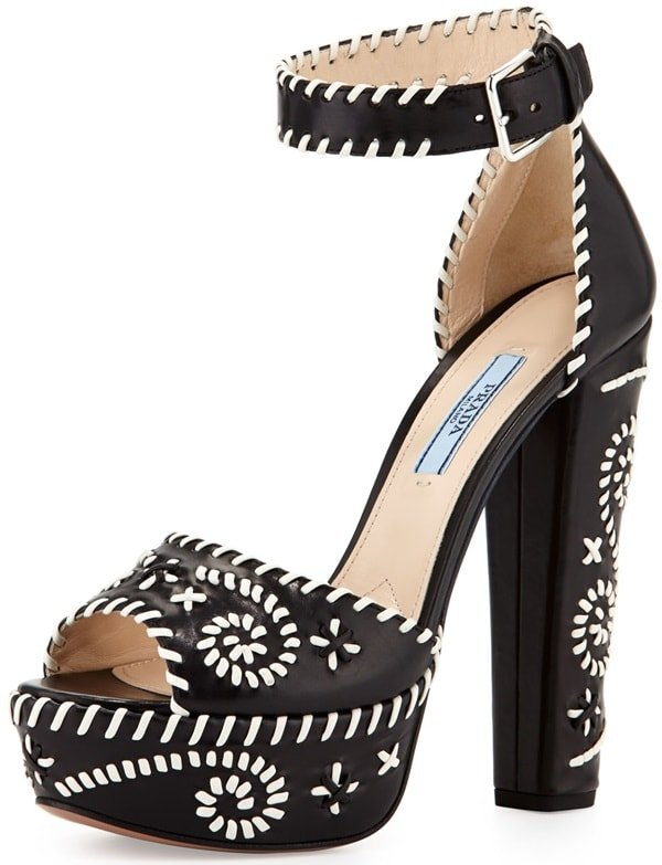 Prada Whipstitch Leather Platform Sandal
