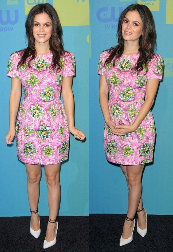 Rachel Bilson ina pink-and-green cotton-blend floral-print shift dress from the Mary Katrantzou Spring 2014 collection