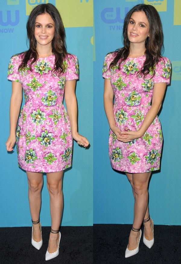 Rachel Bilson in a pink-and-green cotton-blend floral-print shift dress from the Mary Katrantzou Spring 2014 collection
