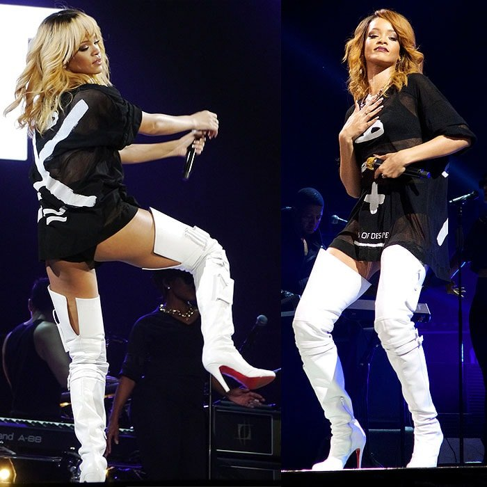 Rihanna black t-shirt white thigh boots