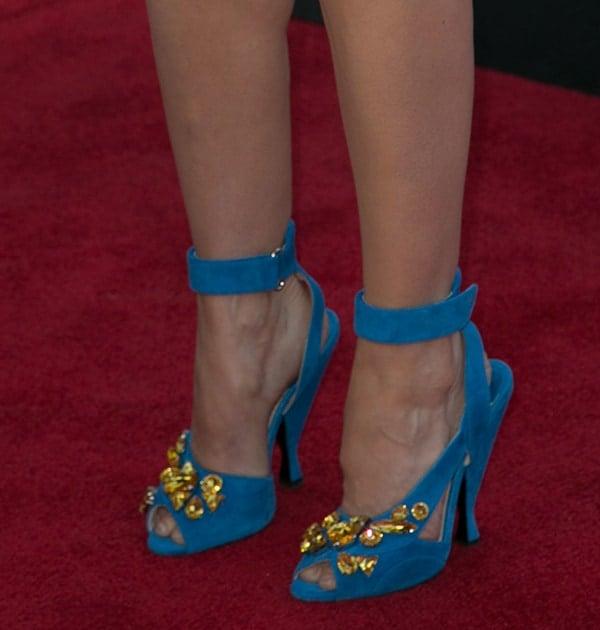 Sarah Silverman wearing Prada jeweled sandals