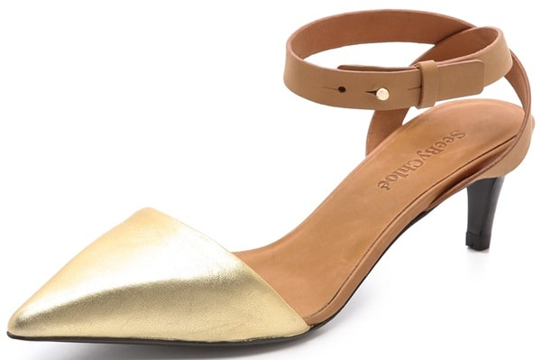 See by Chloe Metallic Pointed Tote Pumps