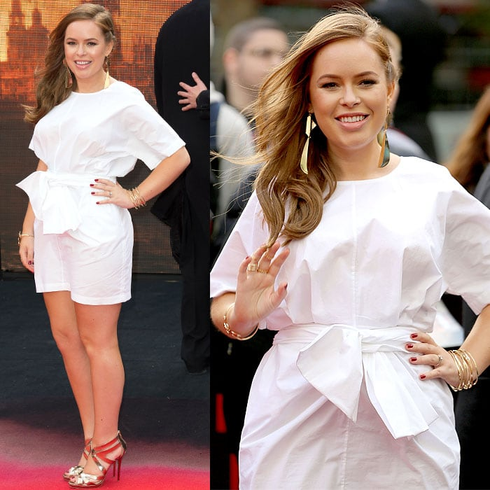 Tanya Burr in a knotted-at-the-waist dress at the premiere of 'Godzilla'