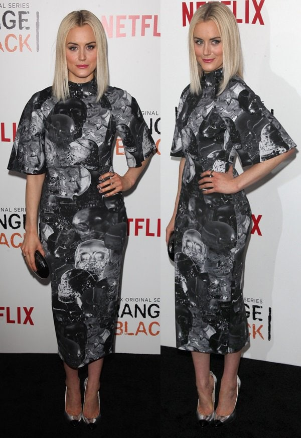Taylor Schilling's high-neck bell-sleeve midi neoprene dress