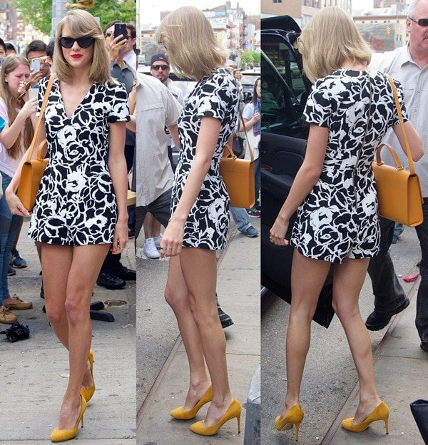 Taylor Swift sported a coated print romper by SUNO featuring on-seam pockets and an exposed back zip