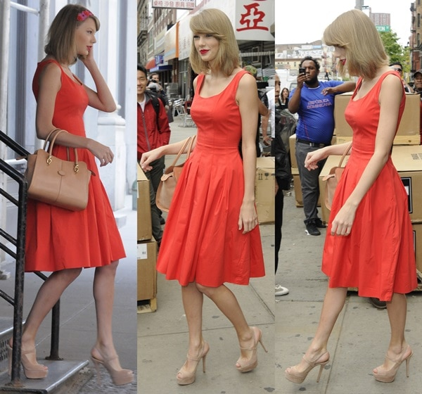 Taylor Swift in a red dress and high heel shoes while out shopping and going to the gym in Manhattan, New York City, on May 19, 2014