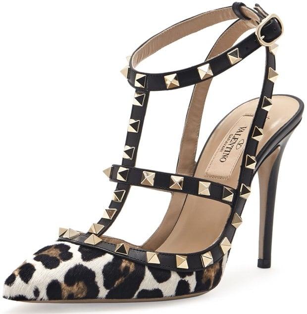 Valentino Animal Rockstud Calf Hair Slingback Sandal Leopard