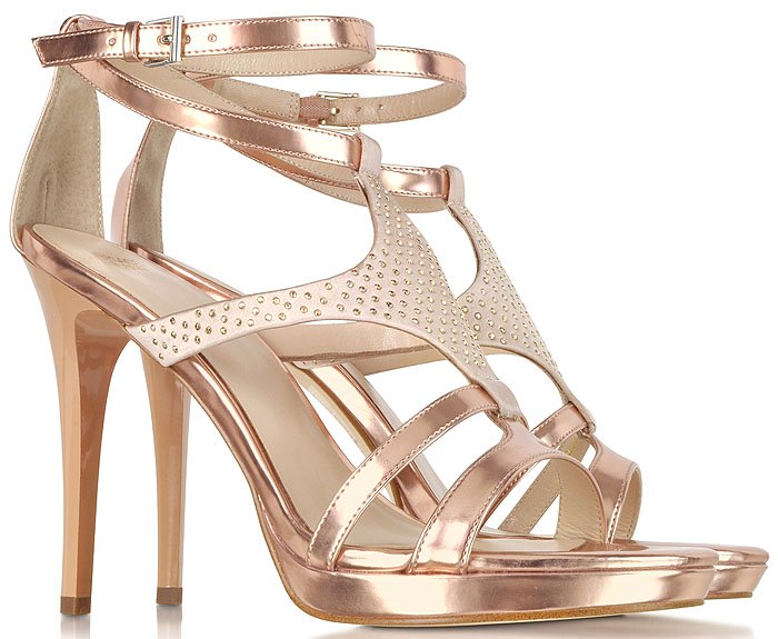 Versace Jeans Patent Leather and Crystal-Satin Sandals