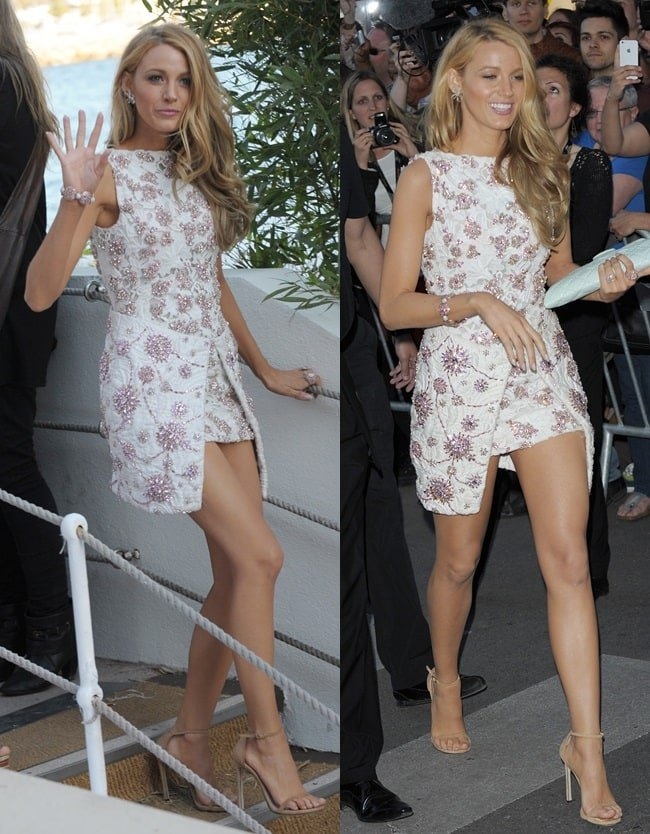 Blake Lively wearing exquisitely beaded Giambattista Valli Haute Couture dress
