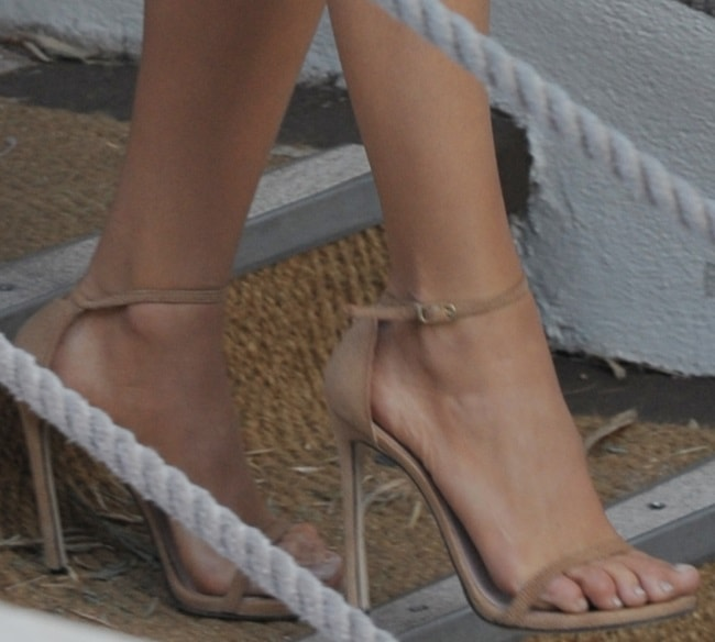 A closer look at Blake's Stuart Weitzman sandals