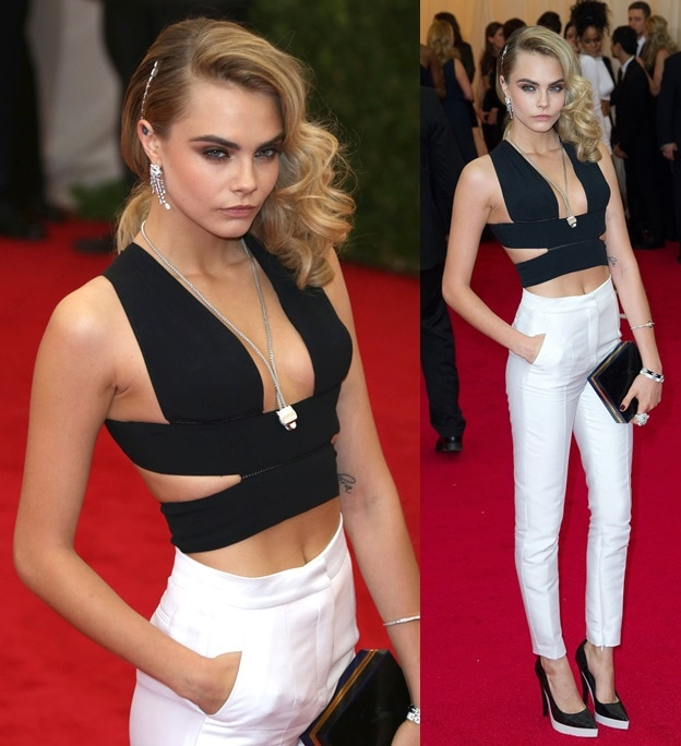 Cara Delevingne in head-to-toe Stella McCartney at the 2014 Met Gala held at the Metropolitan Museum of Art in New York City on May 5, 2014