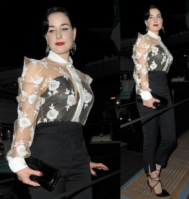 Dita Von Teese at Roberto Cavalli's boat party held during the 2014 Cannes Film Festival in France on May 21, 2014 width=