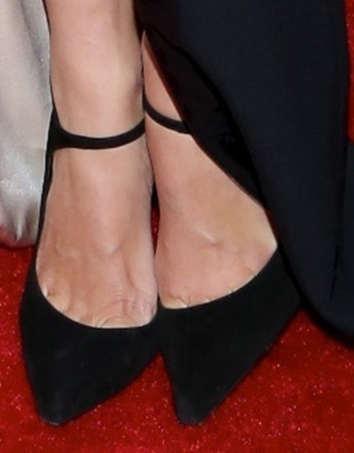 Georgia May Jagger looking stunning in a long black gown and black pointy stilettos at the 2014 Met Gala held at the Metropolitan Museum of Art in New York City on May 5, 2014