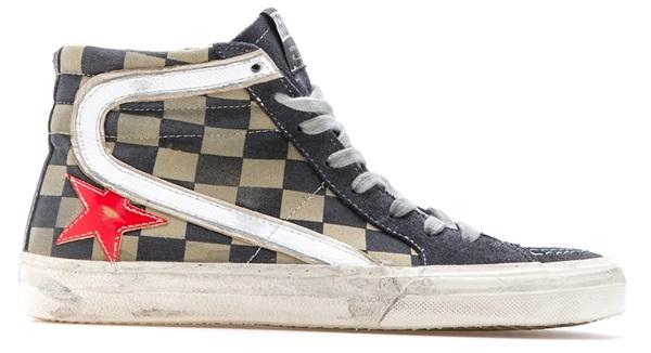 Golden Goose Checkered Hi-Top Sneakers