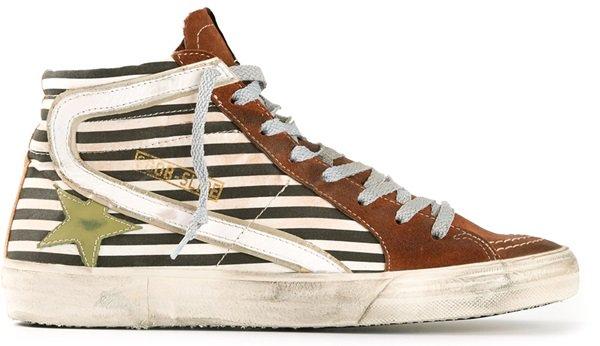 Golden Goose Striped Hi-Top Sneakers