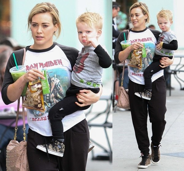 Hilary Duff out for breakfast with Luca in Los Angeles on May 24, 2014
