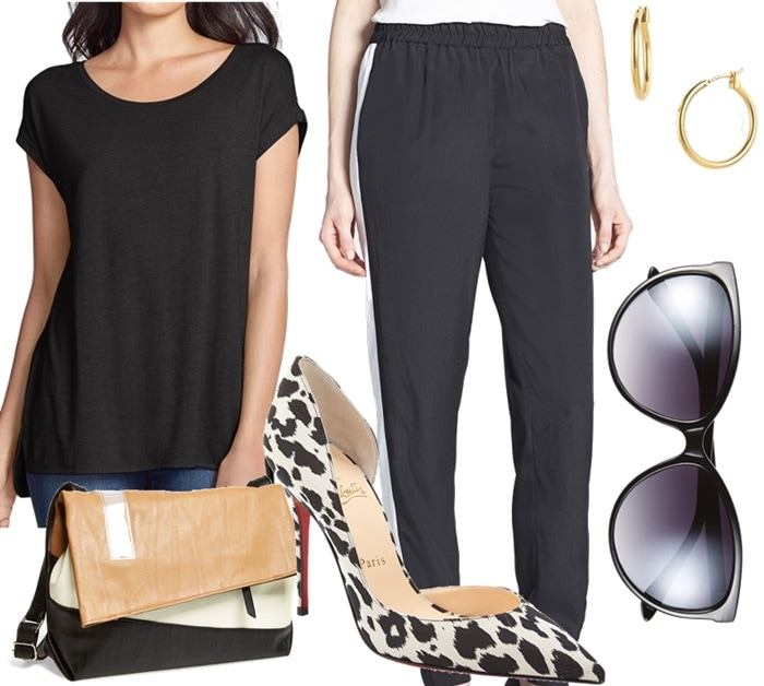 To wear your statement pumps a la Kylie Minogue, grab a slightly loose black tee and a pair of slouchy black track pants