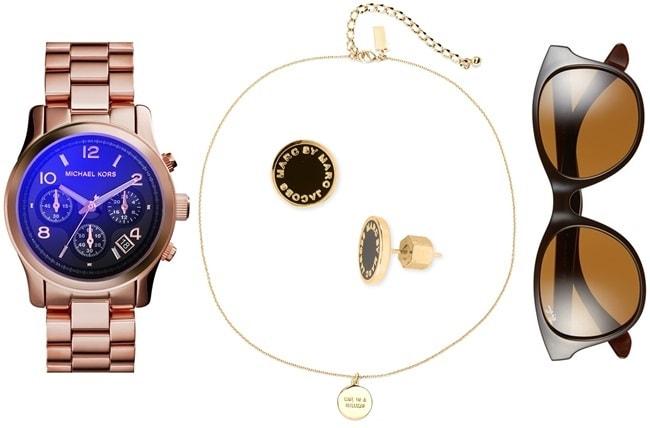 "Michael Kors 37 mm Runway Watch / Kate Spade ""One in a Million"" Pendant Necklace / Ray-Ban ""Highstreet"" Sunglasses / MARC by Marc Jacobs Enamel Logo Earrings"