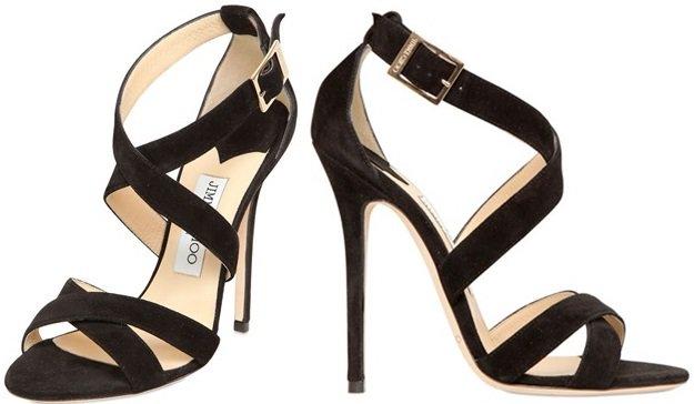 Jimmy Choo Xenia Sandals in Black Suede
