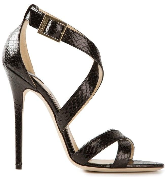 Jimmy Choo Xenia Sandals in Black Snake