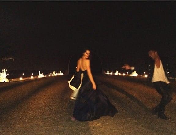 Kendall kept her look just as understated in a navy blue silk gown from Australian designer Johanna Johnson
