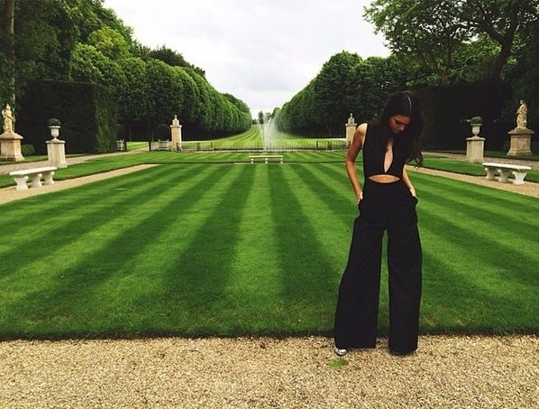 Kendall Jenner wore a sexy black jumpsuit with cutouts