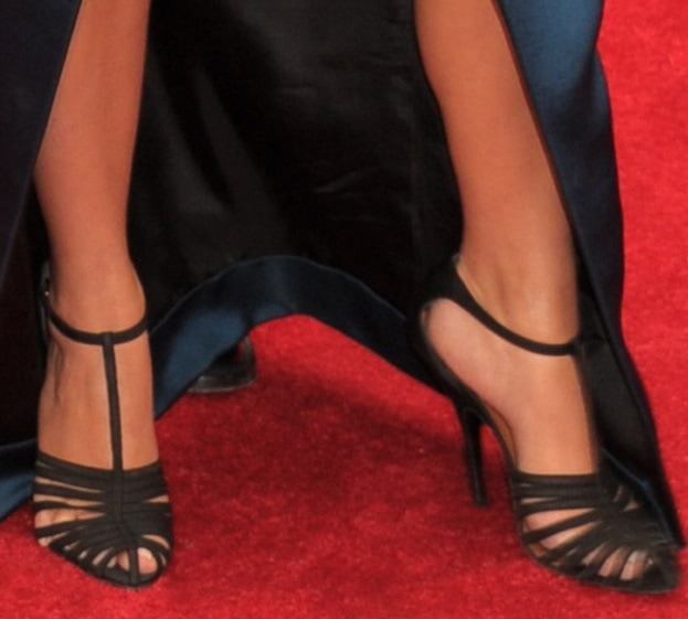 Kim Kardashian wearing Lanvin with her t-strap heels at the 2014 Met Gala held at the Metropolitan Museum of Art in New York City on May 5, 2014
