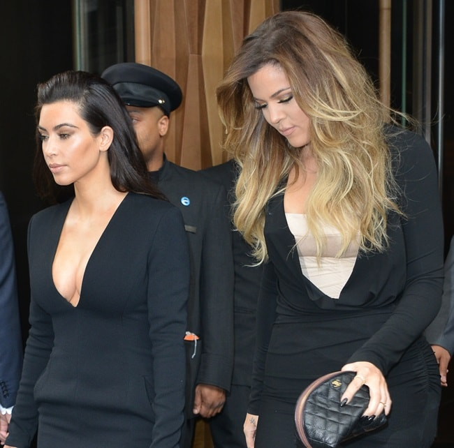 Kim and Khloe leaving their hotel to attend the NBCUniversal Entertainment Upfronts event at the Jacob Javits Center in New York City on May 15, 2014