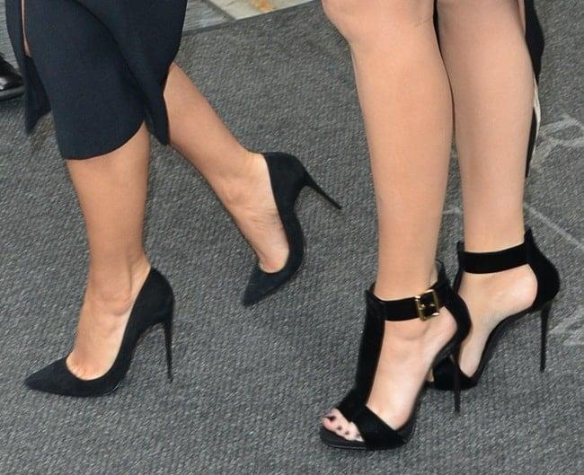 A closer look at Kim's pumps and Khloe's t-strap sandals
