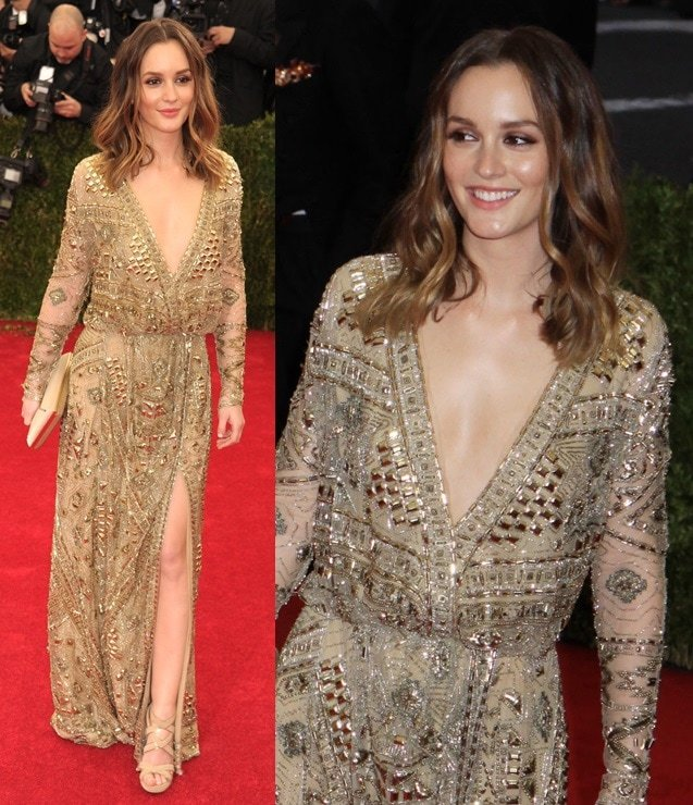 Leighton Meester at the 2014 Met Gala held at the Metropolitan Museum of Art in New York City on May 5, 2014