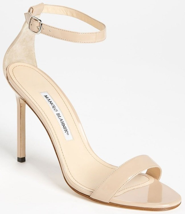 Manolo Blahnik Chaos Ankle-Cuff Sandals in Nude Patent
