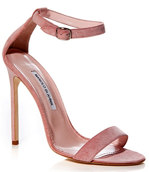 Manolo Blahnik Chaos Sandals in Pink Suede