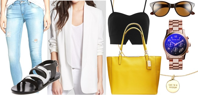 How to Wear a White Blazer with Flat Sandals