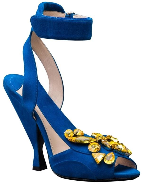 Prada Jeweled Ankle-Strap Sandals