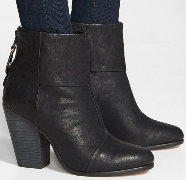 A stacked heel lifts a versatile, ultrachic leather bootie featuring a fold-over cuff detail at the front ankle.